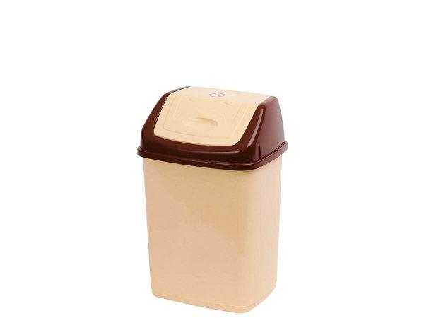 Бежово малко пластмасово кошче с капак - Кошче за кухня или офиса до кафе машина