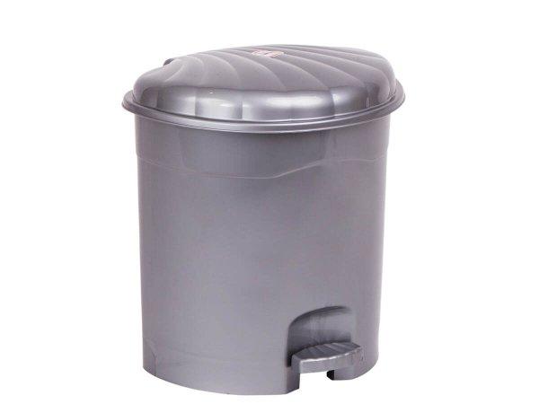 Кошче за боклук -сиво имитация инокс - с педал и капак
